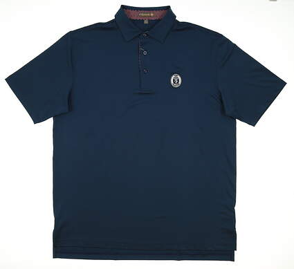 New W/ Logo Mens Peter Millar Solid Stretch Jersey Golf Polo Large L Navy Blue MSRP $89 MS17EK26S