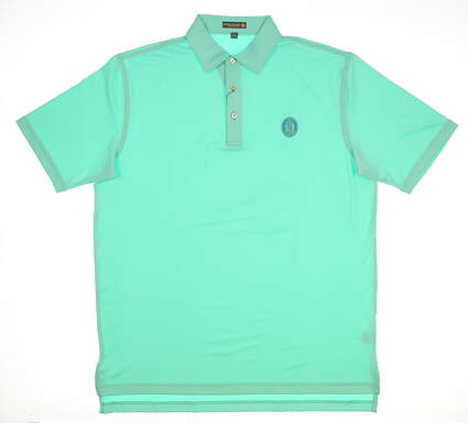 New W/ Logo Mens Peter Millar Solid Stretch Jersey Golf Polo Large L Green MSRP $89 MF17EK01S