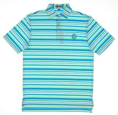 New W/ Logo Mens Peter Millar Parnelli Stripe Stretch Jersey Polo Small S Peacock Blue MSRP $89 MF17EK17S