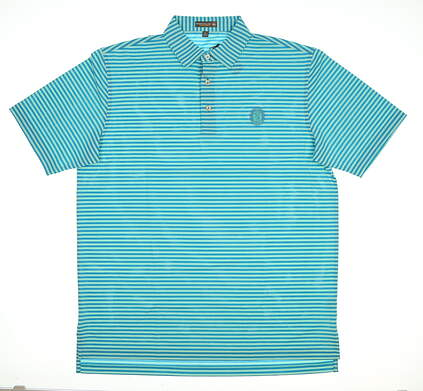 New W/ Logo Mens Peter Millar Tygra Stripe Mesh Polo Large L Multi MSRP $85 MF17EK51S