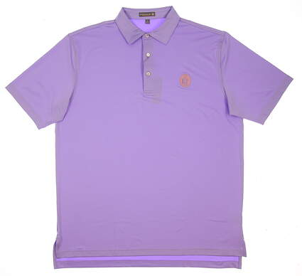 New W/ Logo Mens Peter Millar Solid Stretch Jersey Polo Large L Purple MSRP $89 MF17EK01S