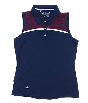 New Womens Adidas Sleeveless Polo Large L Blue MSRP $65 AF2698