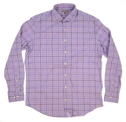 New W/ Logo Mens Peter Millar Button Up Large L Plum MSRP $125 MS16EW10