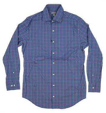 New W/ Logo Mens Peter Millar Button Up Medium M Blue MSRP $125 MS15EW03