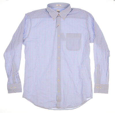New W/ Logo Mens Peter Millar Button Up Large L White MSRP $115 MS16W06CBL