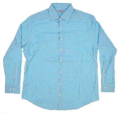 New W/ Logo Mens Peter Millar Button Up Large L Blue MSRP $125 MS15EW02