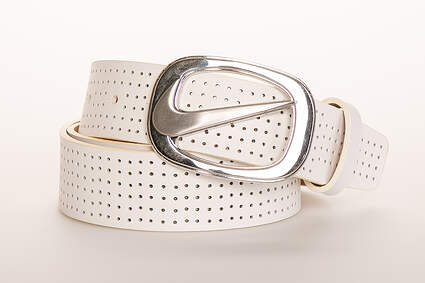 New Womens Nike Perforated Cut-Out Leather Belt Large L White MSRP $40