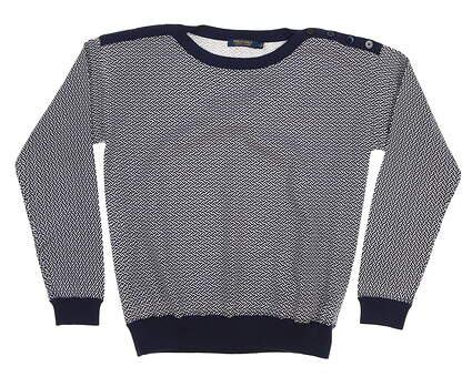 New Womens Ralph Lauren Sweater Large L White/Navy MSRP $198