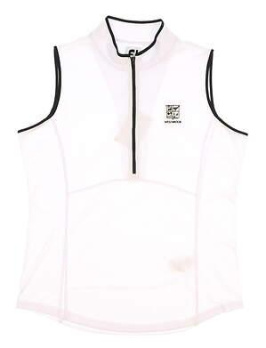 New W/ Logo Womens Footjoy 1/2 Zip Shirt Large L White/Black MSRP $65