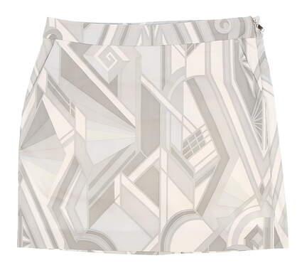 New Womens Ralph Lauren Art Deco-Print Jersey Golf Skort Size 10 Gray MSRP $145