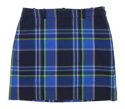 New Womens Ralph Lauren Plaid Stretch Cotton Golf Skort Size 4 Blue MSRP $145