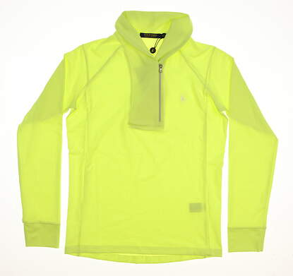 New Womens Ralph Lauren Shawl Collar Long Sleeve Top X-Small XS Neon Yellow MSRP $125