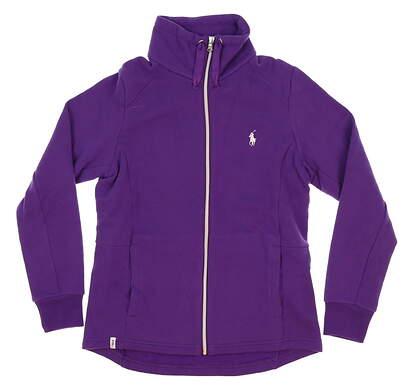 New Womens Ralph Lauren Full Zip Mock Neck X-Small XS Purple MSRP $125