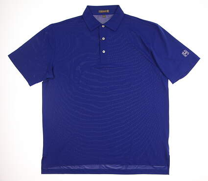 New W/ Logo Mens Peter Millar Golf Polo Large L Blue MSRP $85 MS16EK50S