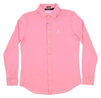 New Womens Ralph Lauren Tailored Fit Button Up Medium M Pink MSRP $125