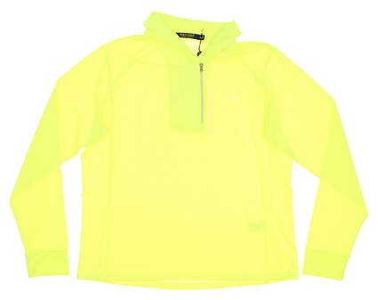 New Womens Ralph Lauren Shawl Collar 1/4 Zip Pullover X-Large XL Neon Yellow MSRP $125