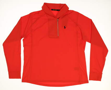 New Womens Ralph Lauren Shawl Collar 1/4 Zip Pullover X-Large XL Red MSRP $125