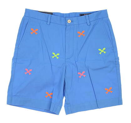 New Mens Vineyard Vines Neon Embroidered Cross Fishbone Shorts Size 34 Blue MSRP $98.50 1H0216