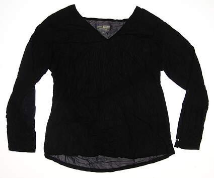New Womens Jamie Sadock Golf Long Sleeve V-Neck Large L Black MSRP $55 61127