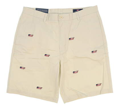 New Mens Vineyard Vines Whale Flag Summer Twill Club Shorts Size 36 Stone MSRP $98.50 1H0245