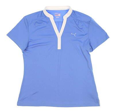 New Womens Puma Golf Polo Large L Blue MSRP $65 568346