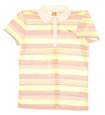 New Womens Puma Golf Polo Medium M Orange/ Yellow MSRP $65 565797