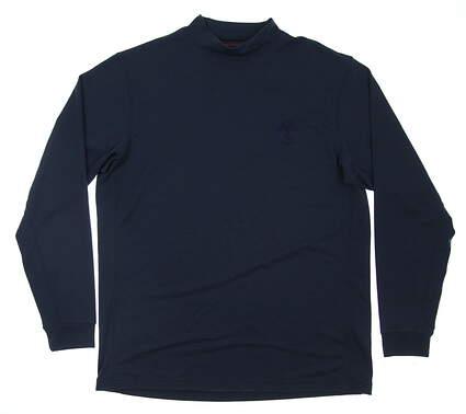 New W/ Logo Mens Mizuno Golf Long Sleeve Mock Neck Medium M Navy Blue MSRP $74.50