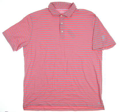 New W/ Logo Mens Peter Millar Golf Polo X-Large XL Pink Coral MSRP $86 MS17K72
