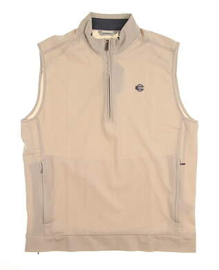 New W/ Logo Mens Ashworth Stretch Wind Half-Zip Golf Vest Medium M Tan MSRP $80 AE8435