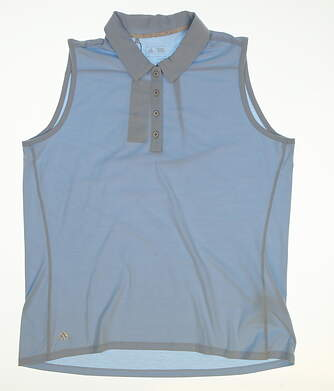 New Womens Adidas Golf Sleeveless Polo Large L Blue MSRP $64 BC2755