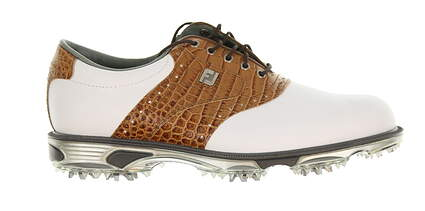 New Mens Golf Shoe Footjoy Dryjoys Tour Medium 9.5 White/Brown MSRP $280