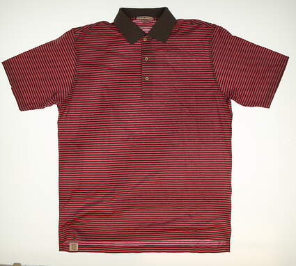 New Mens Peter Millar Stripe Golf Polo Large L Pink MSRP $95 MF16K02