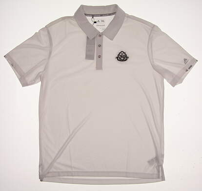 New W/ Logo Mens Adidas Climachill Solid Club Golf Polo Large L White MSRP $88 BC1837