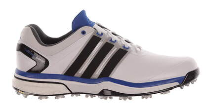 New Mens Golf Shoe Adidas Adipower Boost Medium 7.5 White/Blue MSRP $240