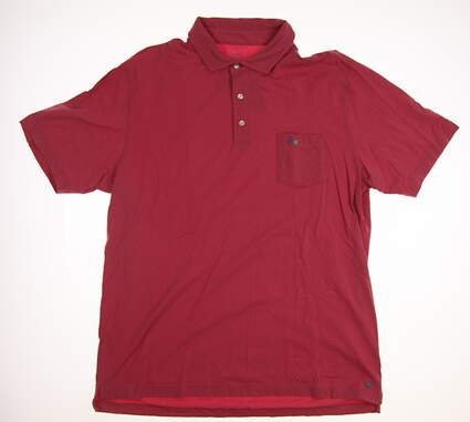 New W/ Logo Mens Peter Millar Golf Polo Large L Red MSRP $78 MF16K70