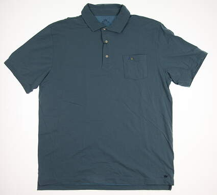 New W/ Logo Mens Peter Millar Golf Polo Large L Blue MSRP $78 MF16K70