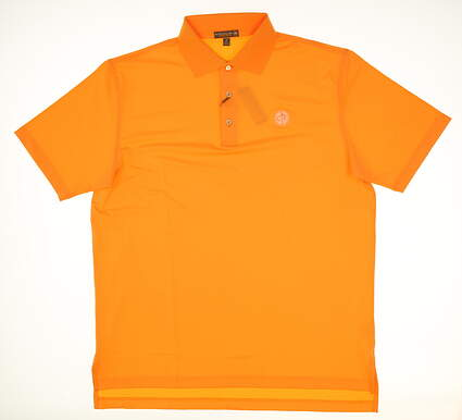 New W/ Logo Mens Peter Millar Golf Polo Large L Orange MSRP $81 MS17EK01