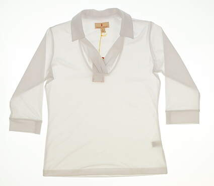 New Womens Sport Haley Long Sleeve Golf Polo Large L White MSRP $82