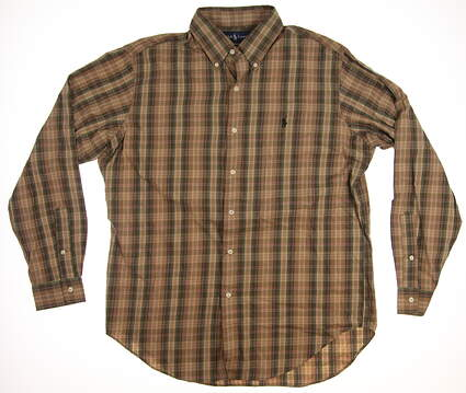 New Mens Ralph Lauren Golf Button Up Large L Brown MSRP $85