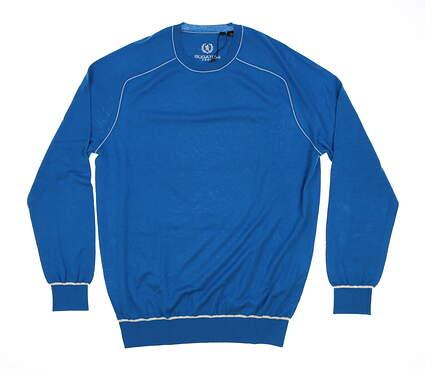 New Mens BUGATCHI Golf Sweater Medium M Blue MSRP $185 VH6000CN1