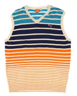 New Mens Puma Striped Golf Sweater Vest Large L Multi MSRP $80 560943 01