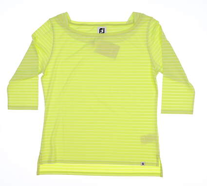 New Womens Footjoy Golf 3/4 Sleeve Boat Neck Medium M Lime MSRP $68
