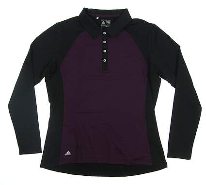 New Womens Adidas Long Sleeve Golf Polo Large L Purple MSRP $70 BC7004