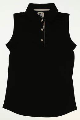 New Womens Footjoy Golf Sleeveless Polo X-Small XS Black MSRP $80 27073