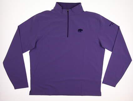 New W/ Logo Mens Peter Millar 1/4 Zip Golf Pullover Large L Purple MSRP $120