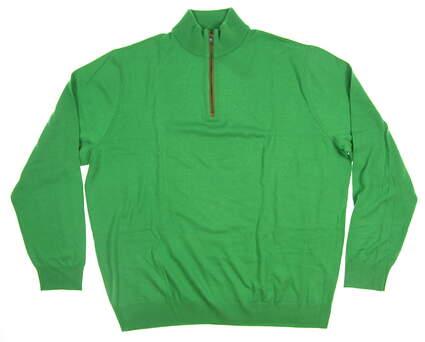 New Mens Ralph Lauren Classics Merino 1/4 Zip Sweater XX-Large XXL Green MSRP $185