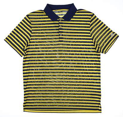 New Mens Adidas Club Merch Stripe Golf Polo Large L Multi MSRP $60 BC2118