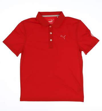 New W/ Logo Youth Puma Golf Polo Medium M Red MSRP $35 570625