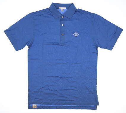 New W/ Logo Mens Peter Millar Golf Polo Small S Blue MSRP $89