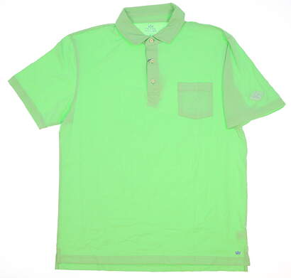 New W/ Logo Mens Peter Millar Golf Polo Medium M Green MSRP $86
